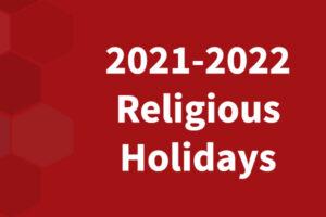 2021-2022 Religious Holidays